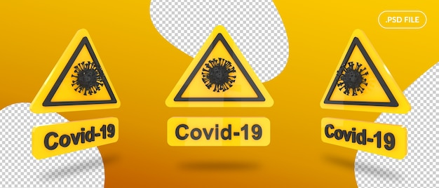 Tablica znak ostrzegawczy covid na białym tle