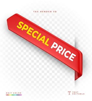 Tag ceny specjalnej renderowania 3d czerwony na białym tle