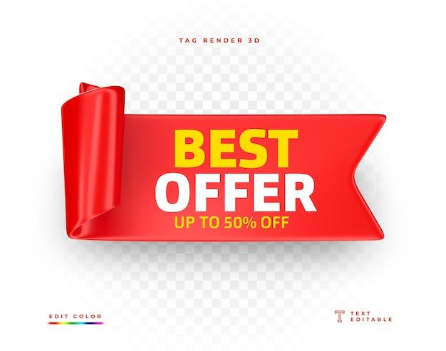 Tag najlepsza oferta renderowania 3d czerwony na białym tle