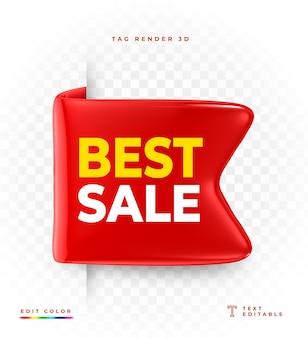 Tag najlepsza sprzedaż czerwony renderowania 3d na białym tle