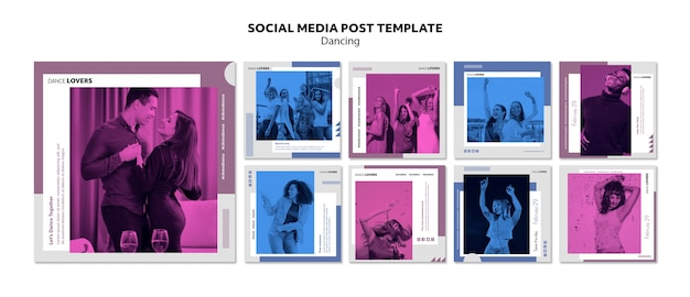 Taniec szablonu postów w mediach społecznościowych