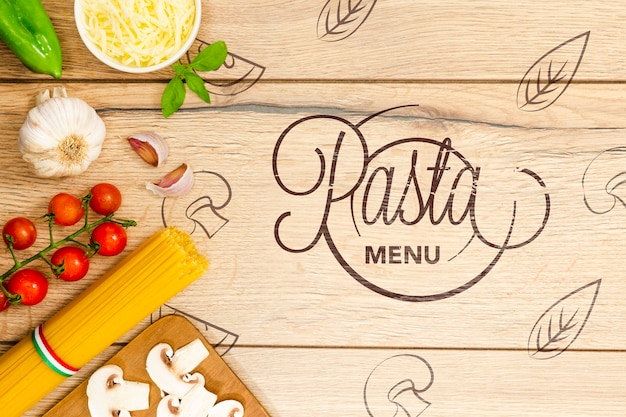Tapeta menu makaronu ze smacznymi składnikami