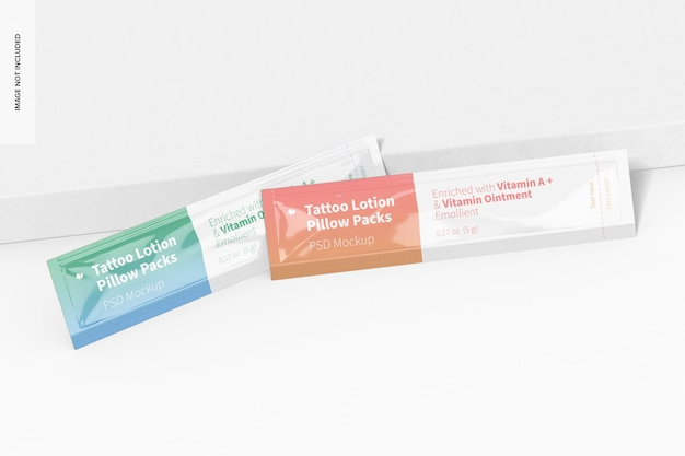 Tattoo lotion pillow packs mockup perspective