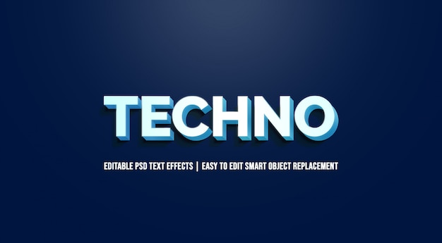Techno in blue gradient text effects
