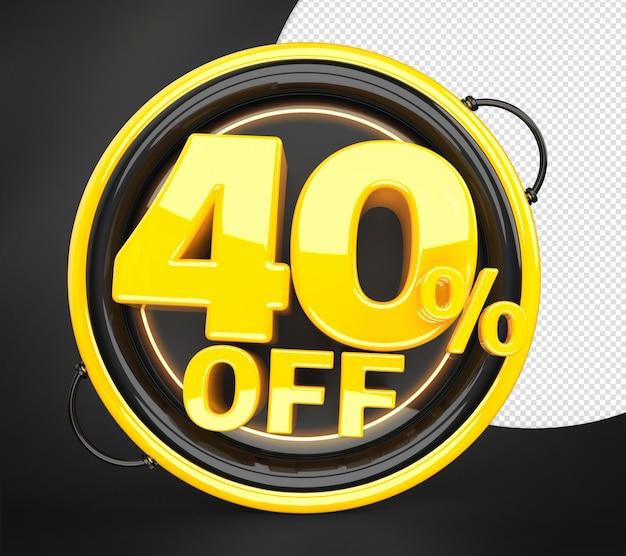Technologia 40 procent zniżki oferta rabatowa etykieta renderowania 3d dla kompozycji