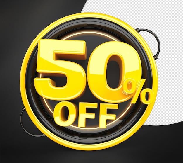 Technologia 50 procent zniżki oferta rabatowa etykieta renderowania 3d dla kompozycji