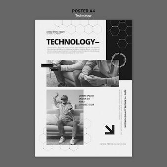 Technologia w szablonie plakatu gier wideo