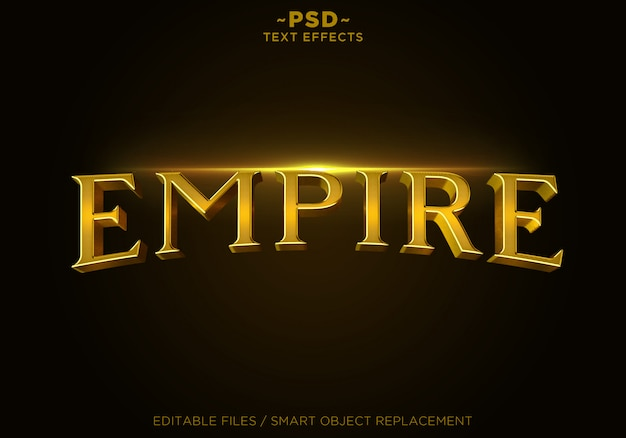 Tekst 3d empire gold effects szablon