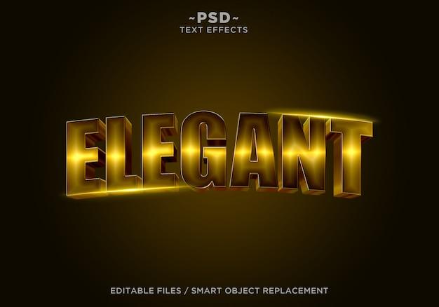 Tekst edytowalny 3d elegant gold effect
