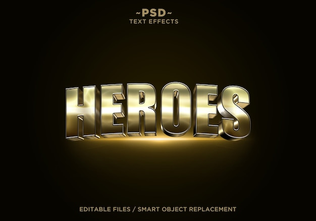 Tekst edytowalny 3d heroes golden effect