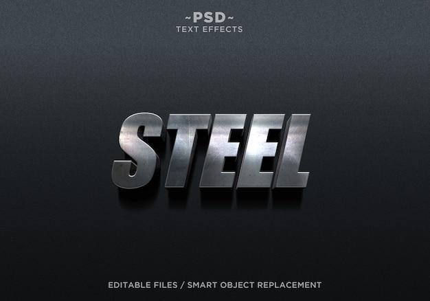Tekst edytowalny 3d steel metal 2 effect