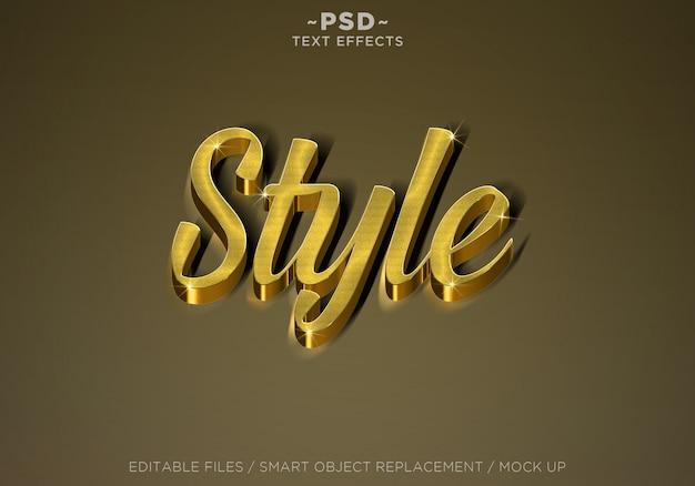 Tekst edytowalny w stylu 3d w realistycznych kolorach złota