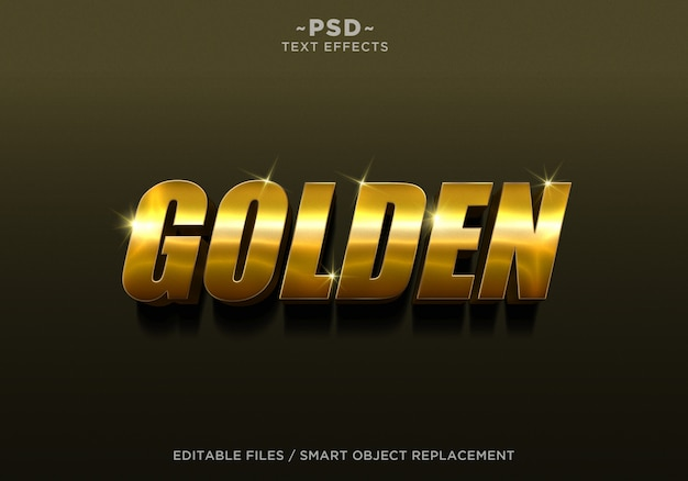 Tekst edytowalny z efektem 3d golden style 4