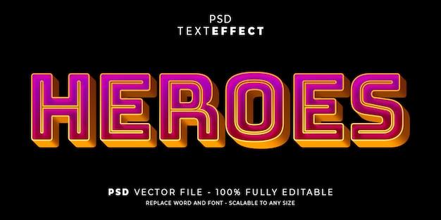 Tekst i efekt czcionki heroes