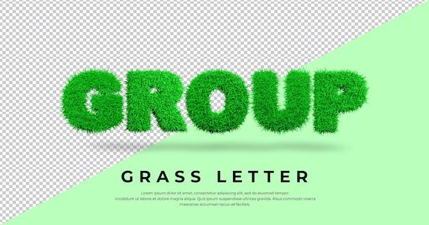 Tekst listu grupowego z projektem trawy 3d