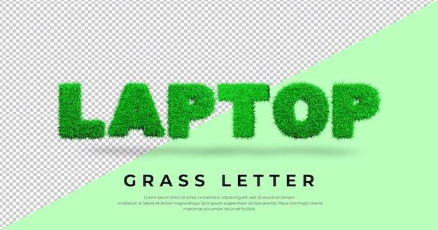 Tekst listu laptopa z projektem trawy 3d
