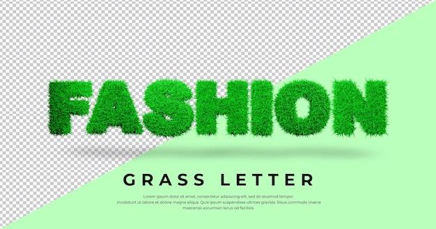 Tekst listu moda z trawą 3d