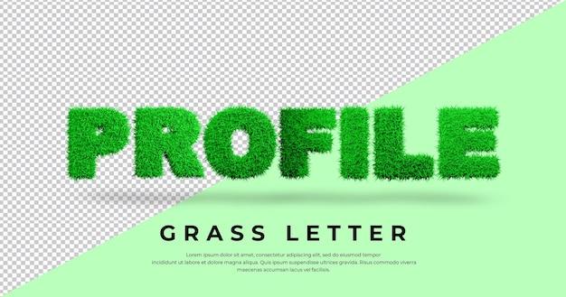 Tekst listu profilowego z projektem trawy 3d