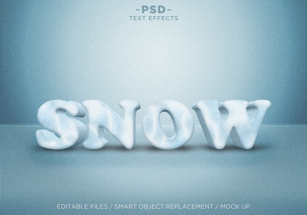 Tekst realistyczny efekt śniegu w stylu 3d szablon tekstu
