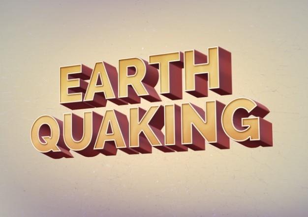 Tekst retro efekt trzęsienia ziemi psd