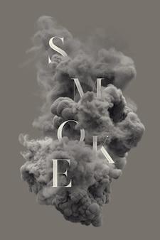 Tekstowe litery w dymie