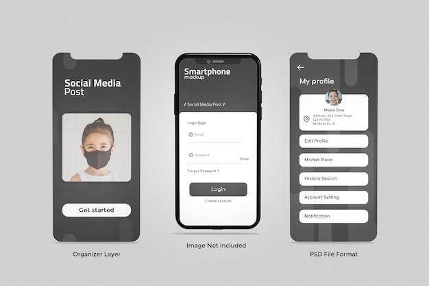 Telefon i ekran do makiety prezentacji aplikacji