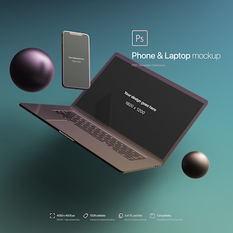 Telefon i laptop unoszące się w makiecie abstrakcyjnego środowiska