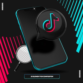 Telefon komórkowy z 3d ikoną tiktok na białym tle do kompozycji