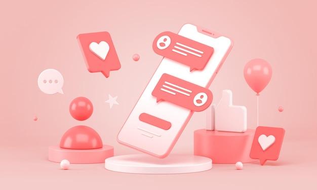 Telefon komórkowy z ikonami czatu w mediach społecznościowych 3d podium na baner reklamowy