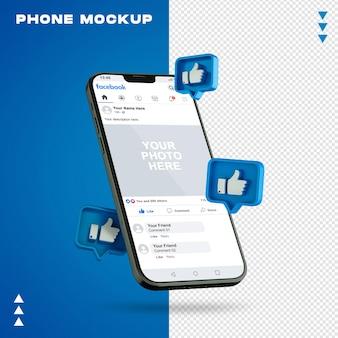 Telefon w renderowaniu 3d na białym tle
