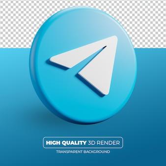 Telegram ikona 3d render na białym tle