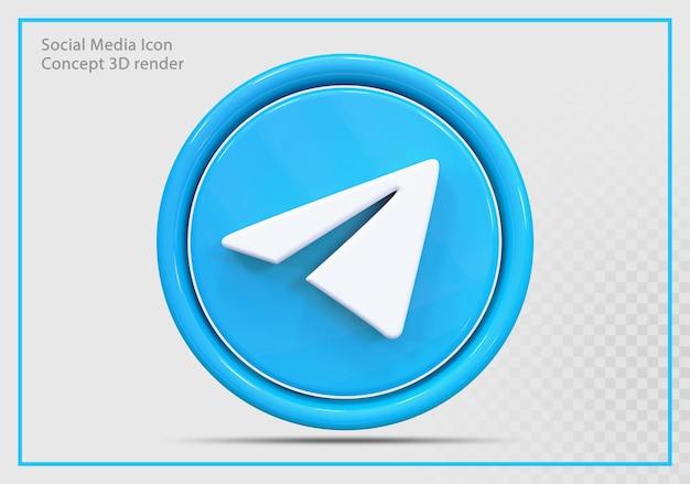 Telegram ikona 3d render nowoczesny