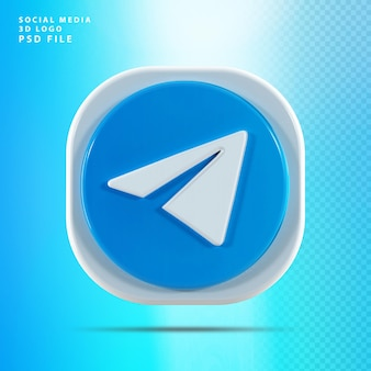 Telegram ikona 3d renderowania kształtu
