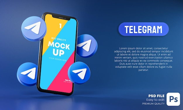 Telegram ikony wokół aplikacji na smartfony mockup 3d