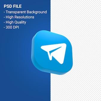Telegram logo renderowania 3d ikona na białym tle