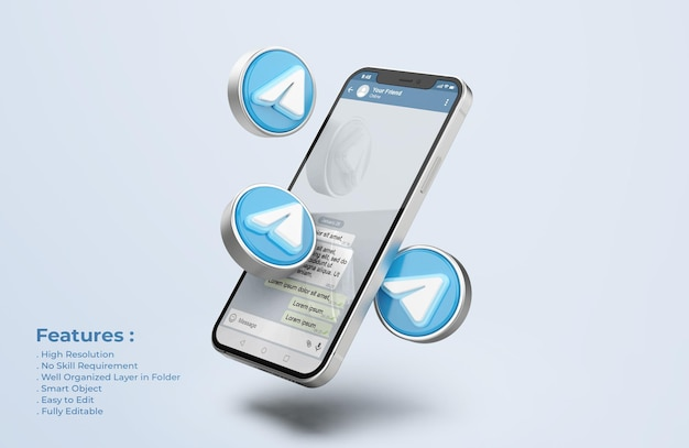 Telegram na srebrnej makiecie telefonu komórkowego