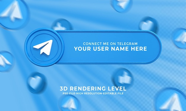 Telegram nazwa użytkownika renderowanie 3d baner niższych trzecich