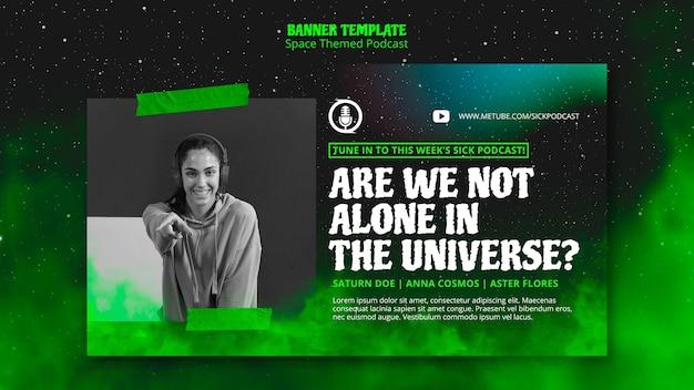 Temat transparentu podcastu o tematyce kosmicznej