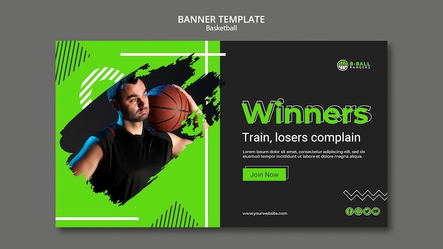 Tematu szablon transparent koszykówki