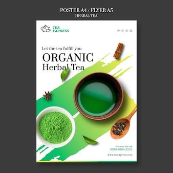 Temlate plakat z herbatą ziołową