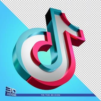 Tik tok błyszcząca ikona renderowania 3d na białym tle w renderowaniu 3d