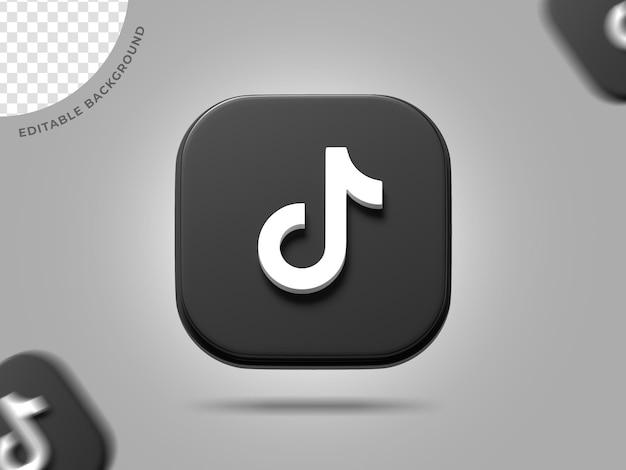 Tiktok 3d logo media społecznościowe renderowanie tła edytowalne ico