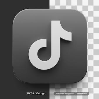 Tiktok apps 3d logo style w okrągłym rogu kwadratowej ikony odznaka na białym tle