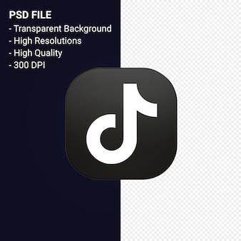 Tiktok logo renderowania 3d ikona na białym tle