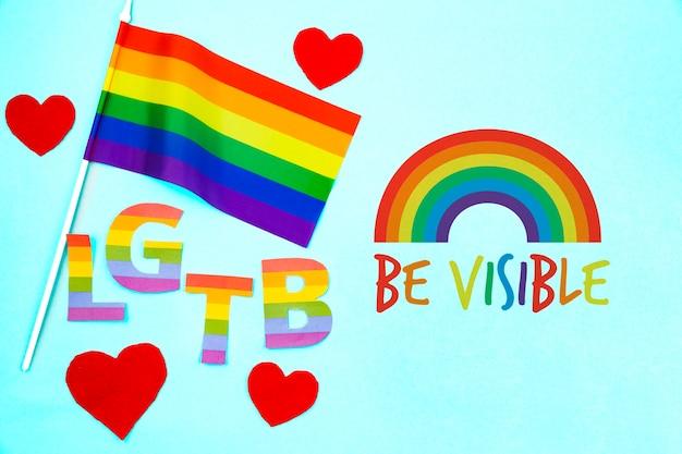 Tło dumy gejowskiej z flagą tęczy