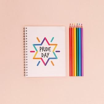 Tło dumy gejowskiej z kolorowymi kredkami