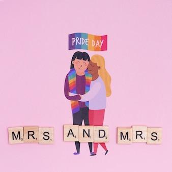 Tło dumy gejowskiej z parą homoseksualną