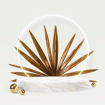 Tło produktu z podium psd i złotym liściem palmowym