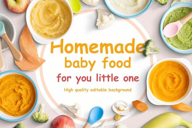 Tło psd domowe jedzenie dla niemowląt
