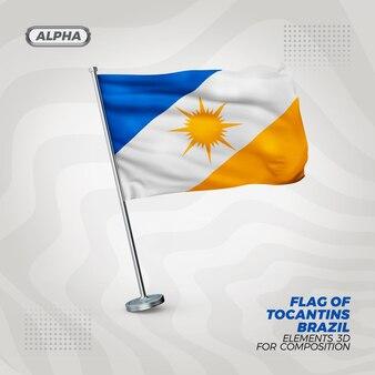 Tocantins realistyczne 3d teksturowanej flagi